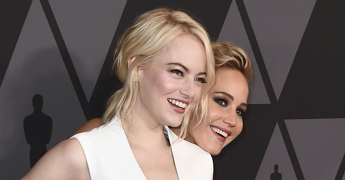 Jennifer Lawrence just shared a video blaming Emma Stone for missing Golden Globes