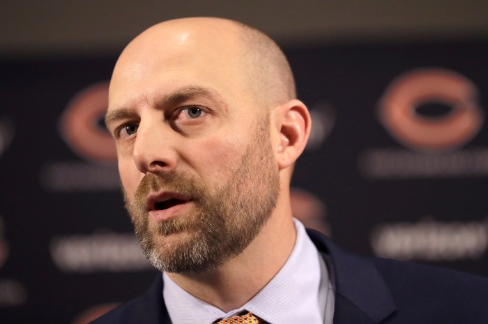 This picture of Matt Nagy watching a Bears video is priceless