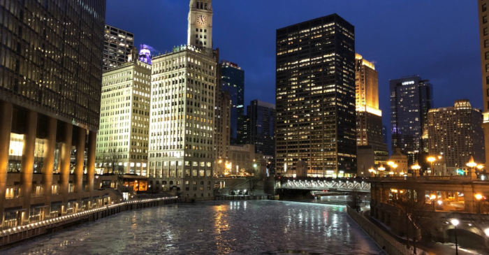 These frigid temperatures partially froze the Chicago River