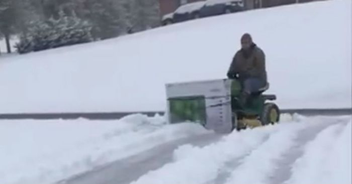 This guy wasn't going to let a little snow slow him down — so he built his own plow!