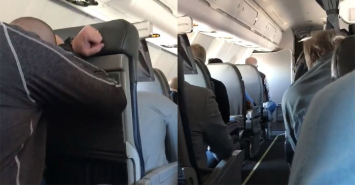 A traveler captured the tense moment aboard plane as the crew told passengers to brace for impact