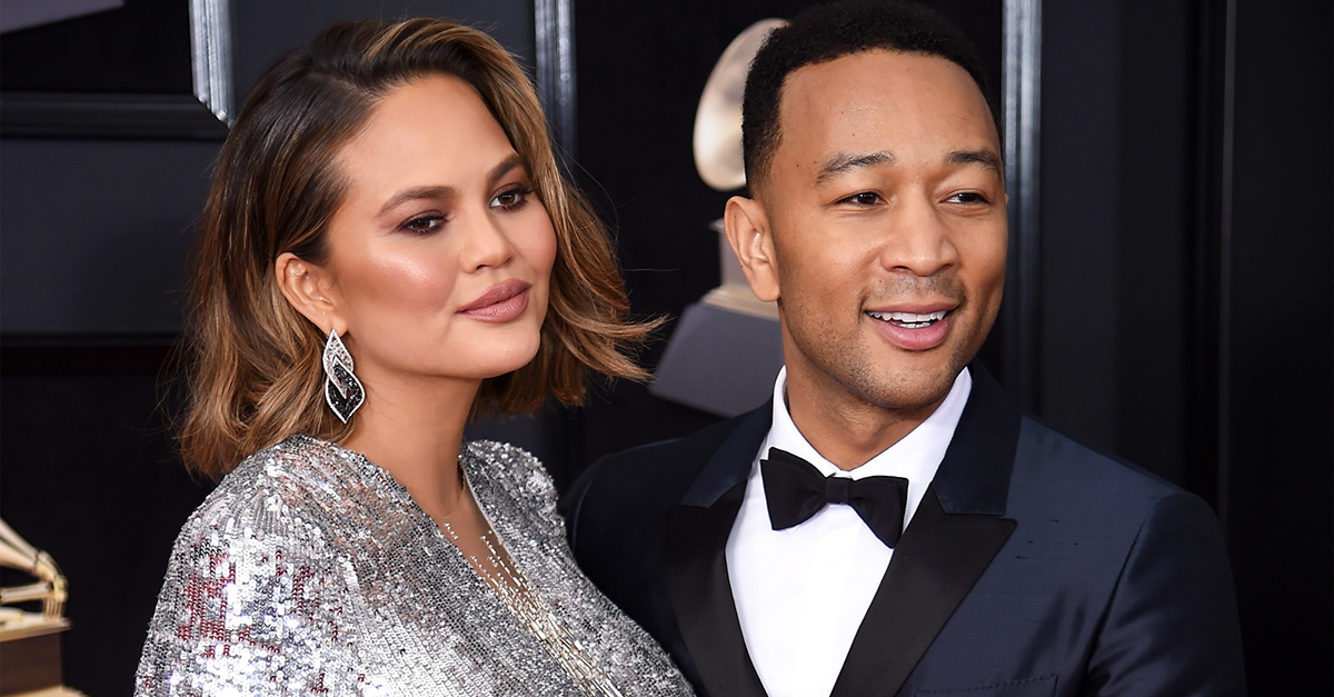 Chrissy Teigen and John Legend at the 60th annual Grammy Awards