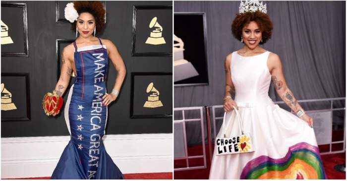 "This singer outdid her own ""MAGA"" gown with this pro-life fashion statement at the Grammys"
