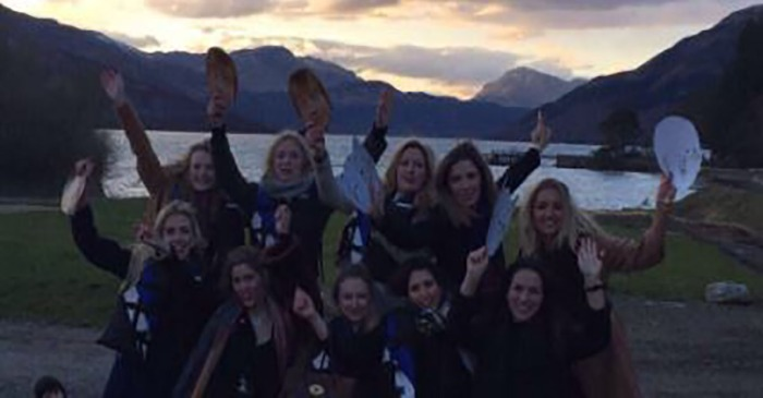 Someone spotted something creepy in this bachelorette party photo, and it's freaking people out