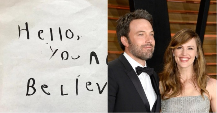 Jennifer Garner and Ben Affleck's 5-year-old son left an adorable love note in a library book