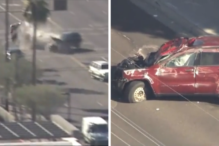 Insane police chase literally crashes to a dramatic end, and the whole thing was caught on video