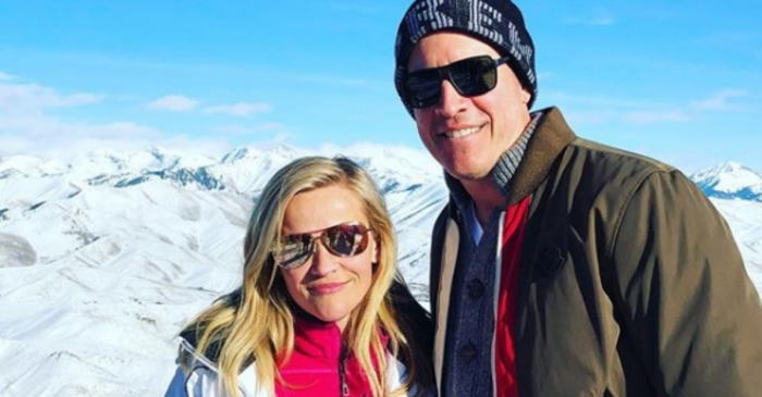 Reese Witherspoon gets cozy in the snowy mountains with husband Jim Toth
