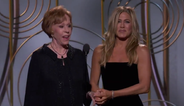 Watch comedy legend Carol Burnett bring the entire audience to their feet at the Golden Globes