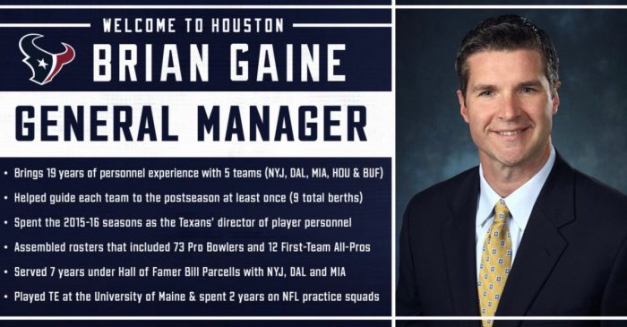 ICYMI Brian Gaine is taking over as Texans GM, and Bill O'Brien's contract is being extended