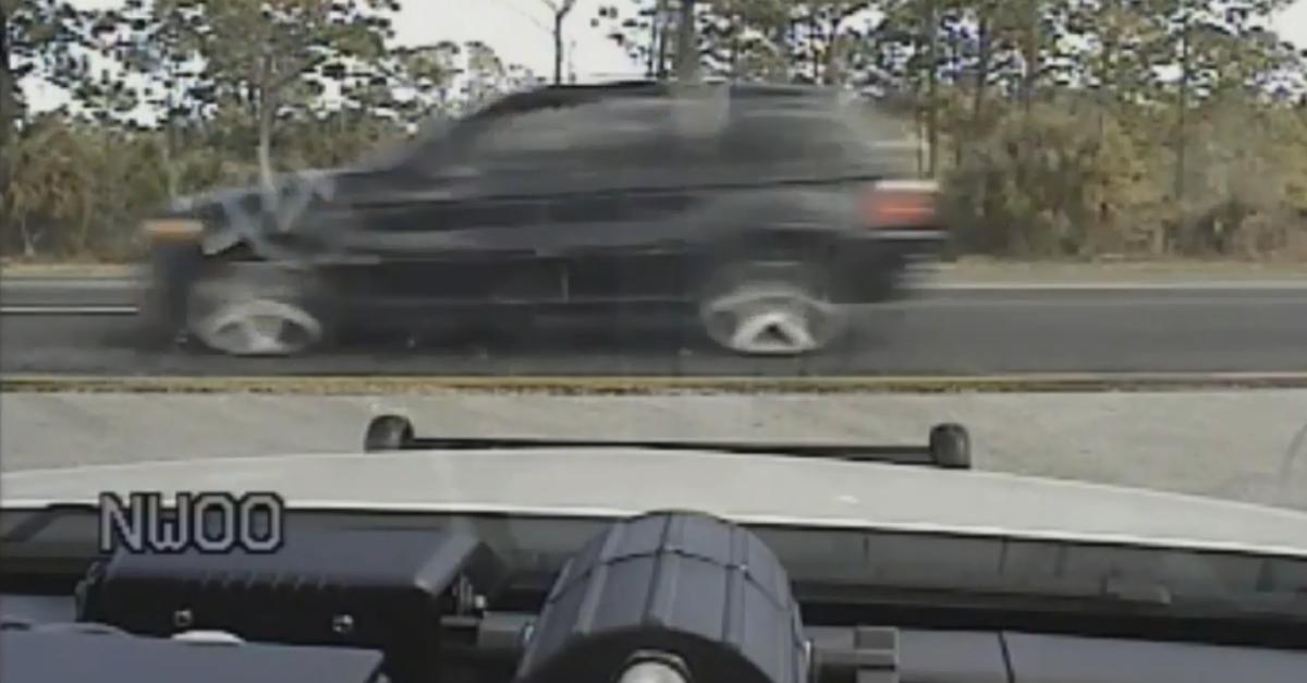 "Car ""stuck"" while speeding down Florida highway"