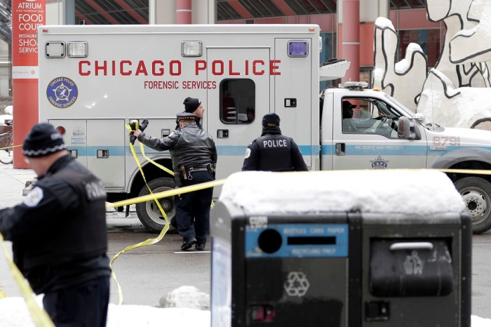 "TV show ""Chicago P.D."" was filming right outside the Thompson Center a day after officer was shot and killed"