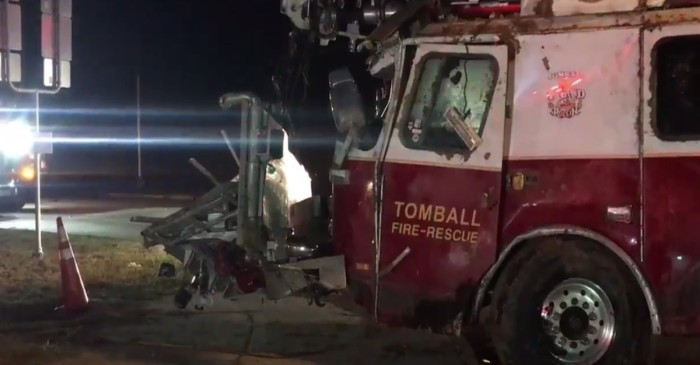 6 injured, including 4 firefighters, in wreck with flipped truck in Tomball