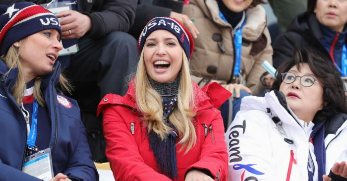 Ivanka Trump captures hearts and practices diplomacy at the Winter Olympics in a red snowsuit