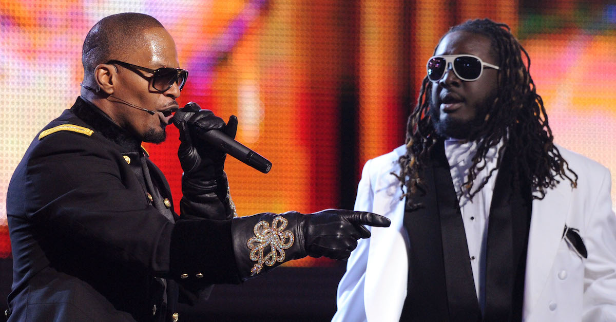 T-Pain, Jamie Foxx (L) performing