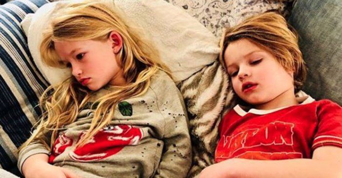 This celebrity mom just shared the harsh reality of taking care of two kids sick with the flu