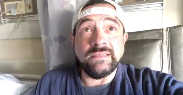 Kevin Smith breaks down while talking about his recent brush with death