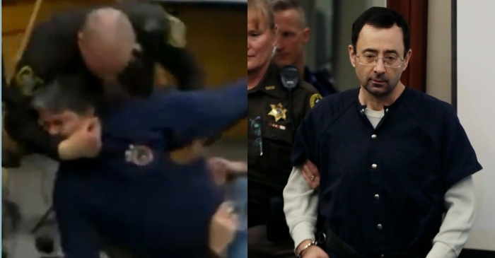 The father of three of Larry Nassar's victims attempted to take justice into his hands in a shocking courtroom moment