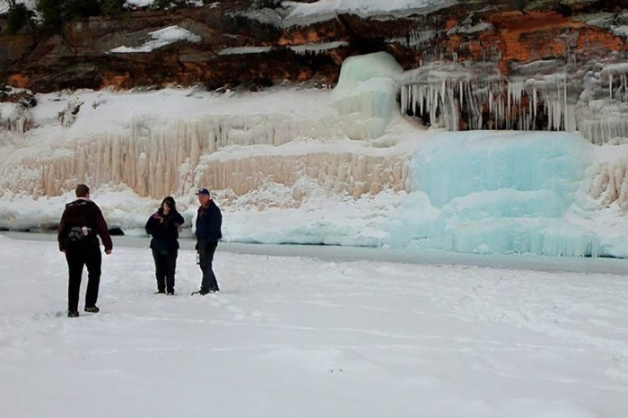 Photographers flock to a Michigan bridge to catch a winter weather phenomenon