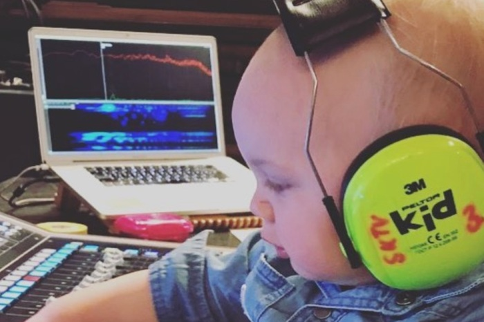Pink's already giving her adorable kid a musical head start in this sweet photo