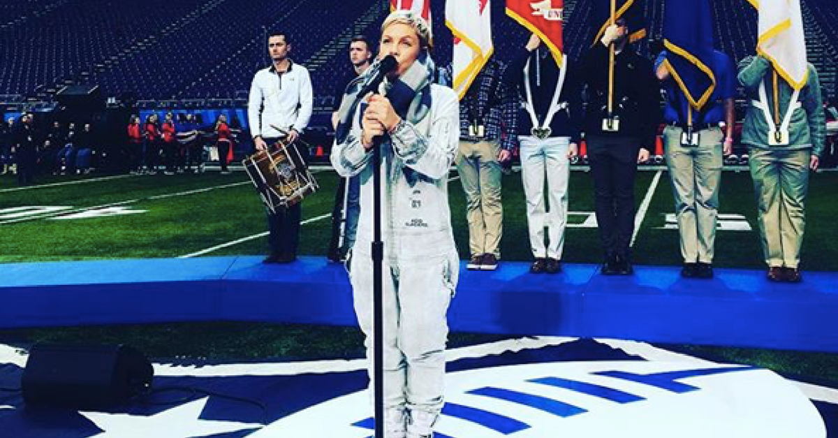 A major wrench has been thrown into Pink's upcoming Super Bowl national anthem performance