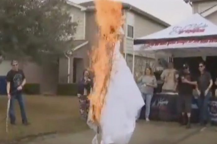 Houston woman celebrates divorce by burning the symbol of her marriage