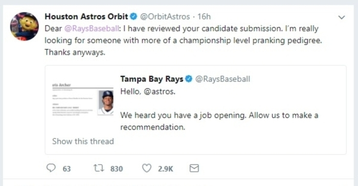 Orbit says he needs a Houstonian to help him be the mascot our Astros and city deserve