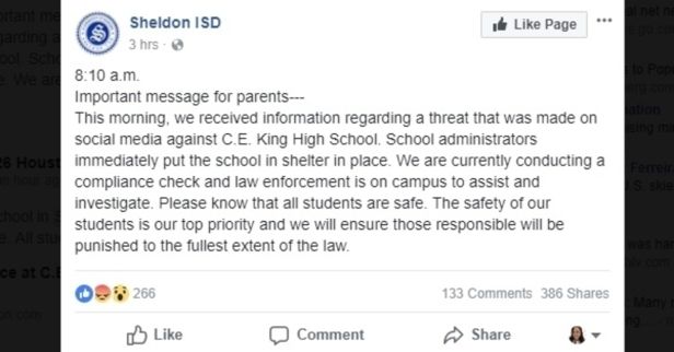 Yet another Houston-area campus sheltered in place this week after social media threat