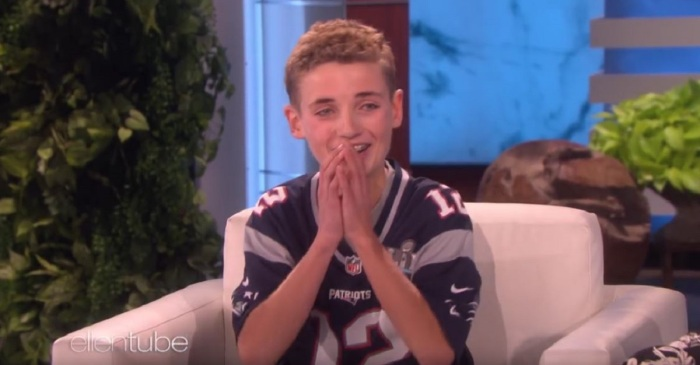 The Super Bowl Selfie Kid just got the surprise of a lifetime from Ellen DeGeneres