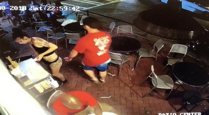 Young Waitress Caught On Video Tackling Customer Down After Groping Her