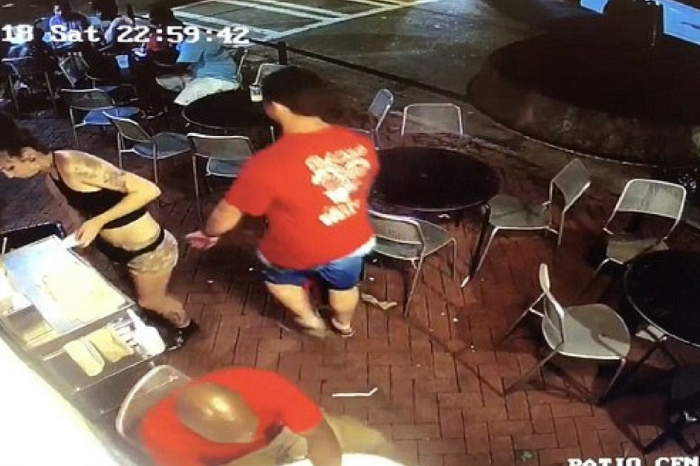 Waitress Caught on Video Tackling Man Down After Groping Her