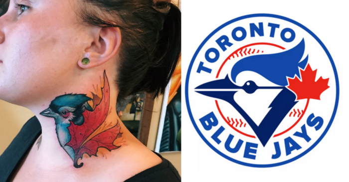 Woman Accidentally Gets Toronto Blue Jays Logo Tattooed on Neck