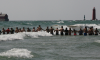 Human Chain Rescue Lake Michigan