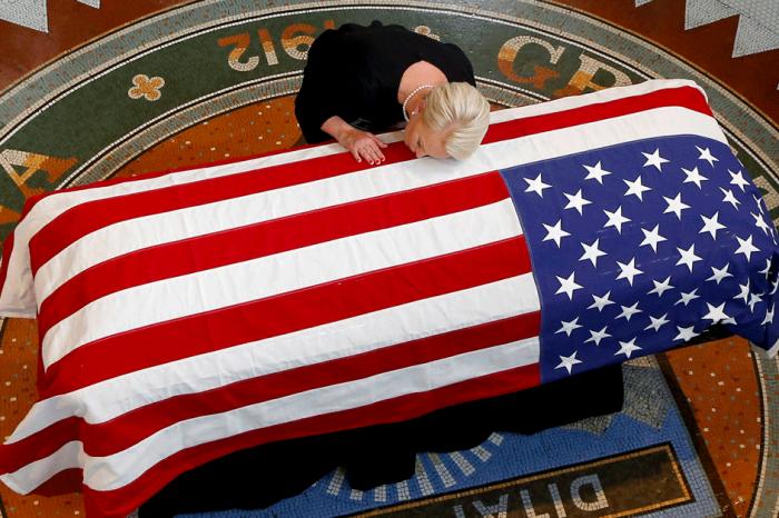 Sen. John McCain's Family Cries Over Flag-Draped Casket