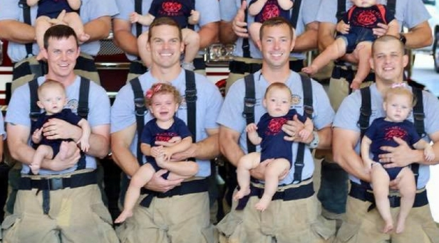 Texas Firefighter Dads Show off 15 Newborns in Sweet Baby Boom Photo