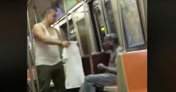 Subway Passenger Gives Shirt Off His Back to Freezing Homeless Man