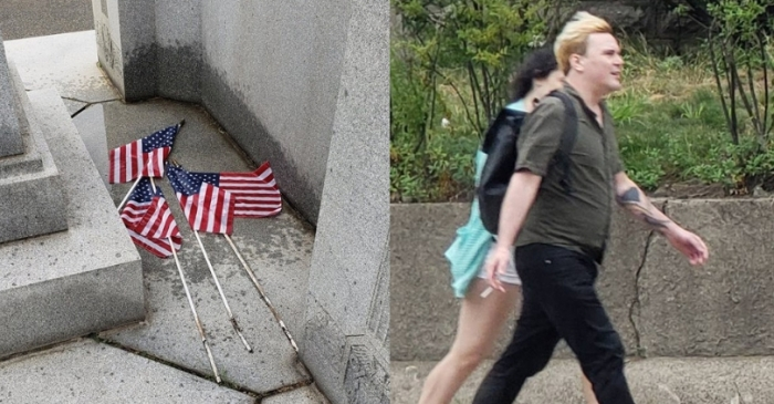 Man Wanted For Urinating On American Flags At Veterans Cemetery