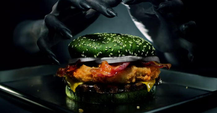 Burger King Debuts New 'Nightmare Burger' Topped with Fried Chicken, Green Bun