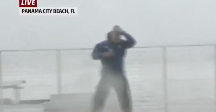 Reporter Almost Impaled by Flying Hurricane Michael Debris Live on TV
