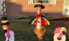 Thanksgiving lawn flamingos