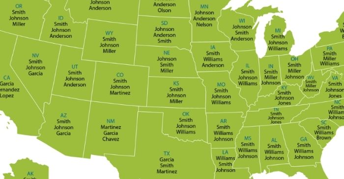 This Map Shows The Most Common Last Name In Your State