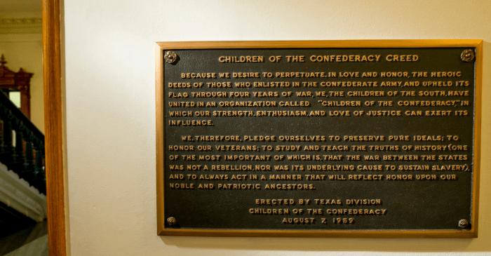 Black Lawmaker Renews Call to Remove Texas Confederate Plaque
