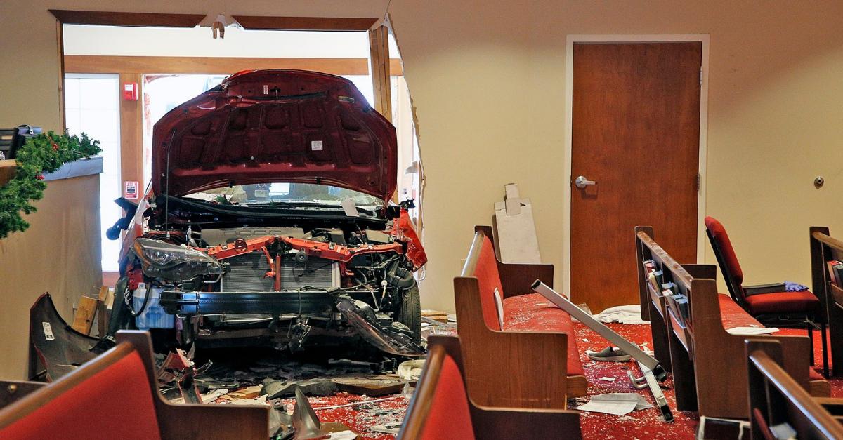 Car Crash Church Window