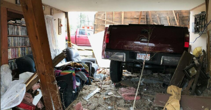 Woman Sleeps Through Truck Crashing Through Living Room, Barely Missing Her