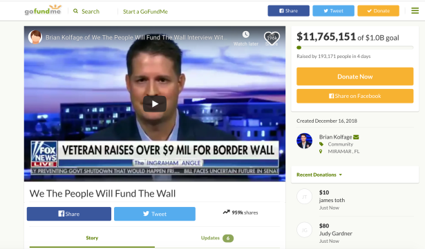Amputee Vet's GoFundMe for Border Wall Has Raised Over $10 Million So Far