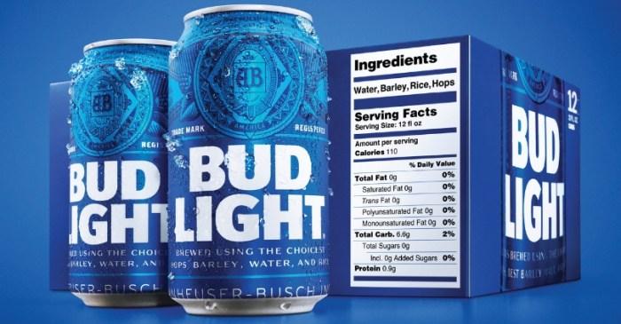 New Look Alert! Bud Light Debuts Bigger Nutrition Labels