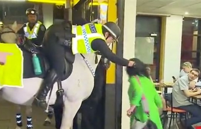 Woman Punches Police Horse Before Being Wrestled to The Ground by Officers