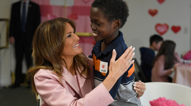 First Lady Makes Valentine's Day Art With Pediatric Patients