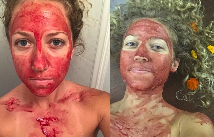 "Women Smears Menstrual Blood On Her Face To Show Periods Are ""Beautiful and Powerful"""
