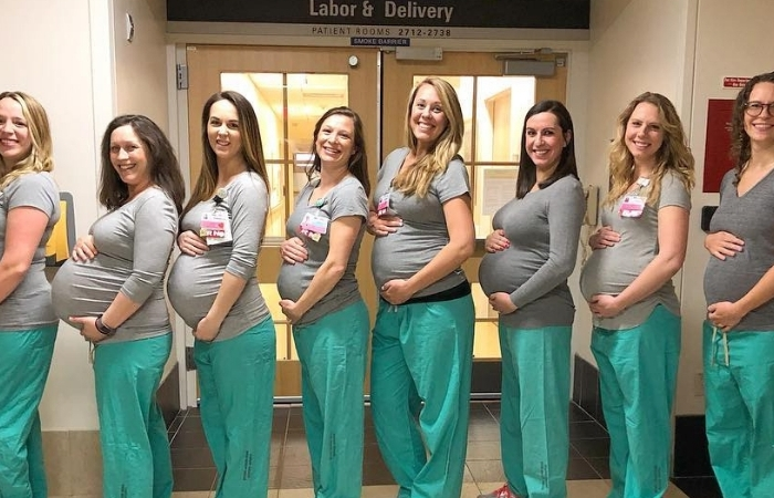 Baby Boom Alert? 9 Labor and Delivery Nurses Expecting at The Same Time!