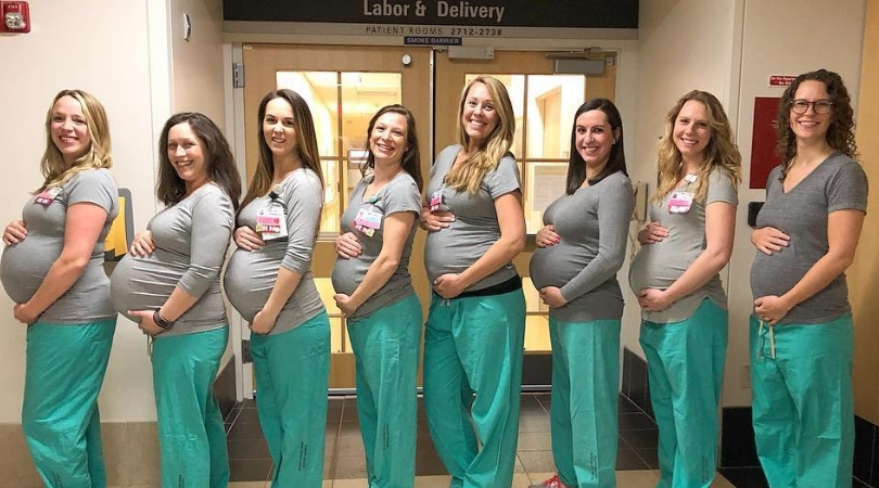 9 Labor and Delivery Nurses Expecting at The Same Time
